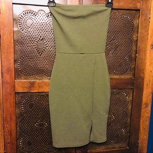 Green club body con dress strapless with slit